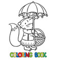 little funny squirrel with umbrella coloring book vector image vector image