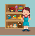 little girl playing with toys character vector image