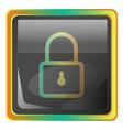 lock grey square icon with yellow and green vector image