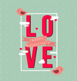 love in square happy valentines pink bird blue bac vector image vector image