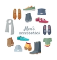 Man s Accessories Concept in Flat Design vector image vector image