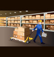 man working in a warehouse vector image vector image