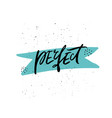 perfect handwritten lettering vector image