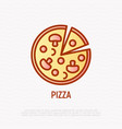 pizza with champignons thin line icon vector image vector image