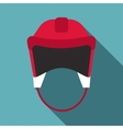 Red hockey helmet icon flat style vector image vector image