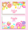 set candy and sweet shop banners vector image