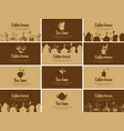 set of business cards on topic of tea and coffee vector image vector image