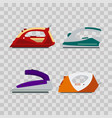 set of colorful irons on transparent background vector image vector image