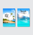 set summer sunrise landscape tropical beach badge vector image vector image