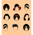 Set Woman Hair Style Silhouettes vector image