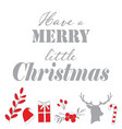 silver and red christmas deisgn elements and quote vector image