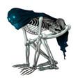 skeleton monster with veil on skull vector image vector image