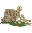 skeleton sitting beside old gravestone vector image
