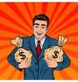 Smiling Businessman Holding Money Bags Pop Art vector image vector image
