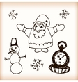 Snowman and Santa retro sketch doodles vector image