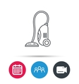 Vacuum cleaner icon Housework device sign vector image
