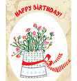 Vintage birhday card with flower pot bow vector image vector image