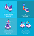 vr square banners set with gaming people playing vector image vector image