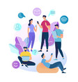 young people characters chatting in social network vector image vector image