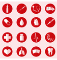 hospital and medical icons set in red circle eps10 vector image
