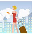 young elegant woman with suitcase vector image