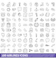 100 airlines icons set outline style vector image vector image