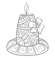 adult coloring bookpage a christmas candle with vector image