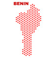 benin map - mosaic of valentine hearts vector image vector image