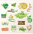 bio eco products label collection set emblems vector image