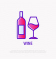 bottle and glass with wine thin line icon vector image vector image