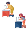 boy and girl stand on a stool and wash their hands vector image vector image