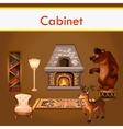 Cabinet with books fireplace and stuffed animals vector image vector image