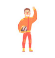 car racing driver man in an orange uniform vector image