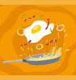 cartoon fried egg with bacon on cooking pan vector image