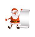 cartoon santa keeping blank paper in hands vector image vector image
