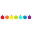 christmas ball icon set line rainbow color happy vector image vector image