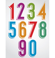 Colorful comic animated numbers with white outline vector image