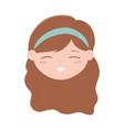 cute face little girl cartoon isolated icon design vector image vector image