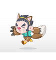 cute style child in werewolf costume vector image vector image