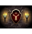 deer shield with torches on wall vector image vector image