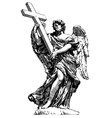 digital drawing marble statue of angel from vector image