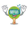 diving ping pong racket character cartoon vector image vector image