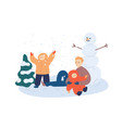 family making snowman flat vector image