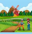 farmer at farmland scene vector image