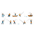 fisherman cartoon people fishing characters vector image