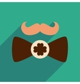 Flat web icon with long shadow mustache butterfly vector image vector image