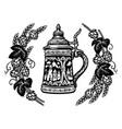 german stein beer mug in frame hop branches vector image vector image