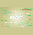 glitch background start to play concept retro vector image vector image