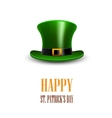 Green St Patrick Day hat StPatrick day greeting vector image vector image