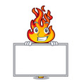 grinning with board torch character cartoon style vector image vector image